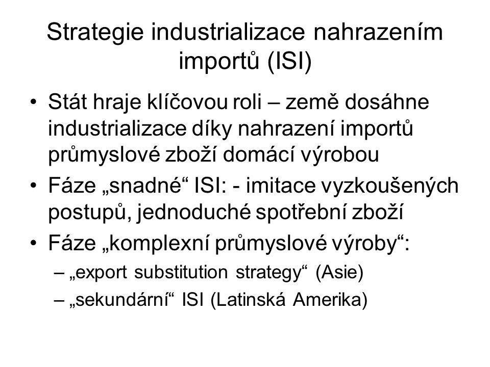 """Strategie industrializace nahrazením importů (ISI) Stát hraje klíčovou roli – země dosáhne industrializace díky nahrazení importů průmyslové zboží domácí výrobou Fáze """"snadné ISI: - imitace vyzkoušených postupů, jednoduché spotřební zboží Fáze """"komplexní průmyslové výroby : –""""export substitution strategy (Asie) –""""sekundární ISI (Latinská Amerika)"""