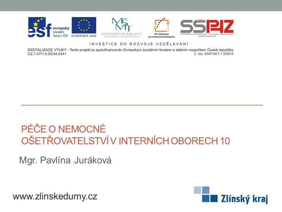 PÉČE O NEMOCNÉ OŠETŘOVATELSTVÍ V INTERNÍCH OBORECH 10 Mgr. Pavlína Juráková www.zlinskedumy.cz