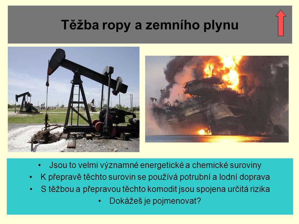 Těžba ropy a zemního plynu Jsou to velmi významné energetické a chemické suroviny K přepravě těchto surovin se používá potrubní a lodní doprava S těžb