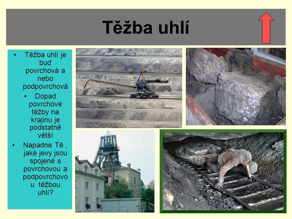 Těžba stavebních, keramických a sklářských surovin Těžba těchto surovin je hlavně povrchová Nejsou to tak rozsáhlé oblasti jako u těžby uhlí Lokality těžby se často vyskytují v hodnotných přírodních oblastech