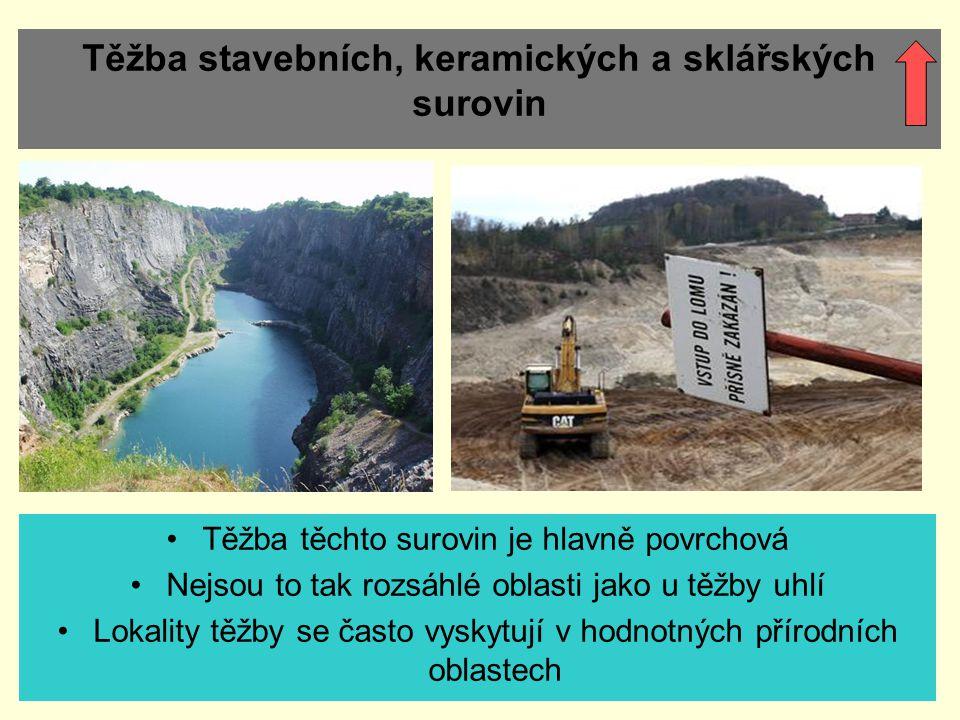 Těžba stavebních, keramických a sklářských surovin Těžba těchto surovin je hlavně povrchová Nejsou to tak rozsáhlé oblasti jako u těžby uhlí Lokality