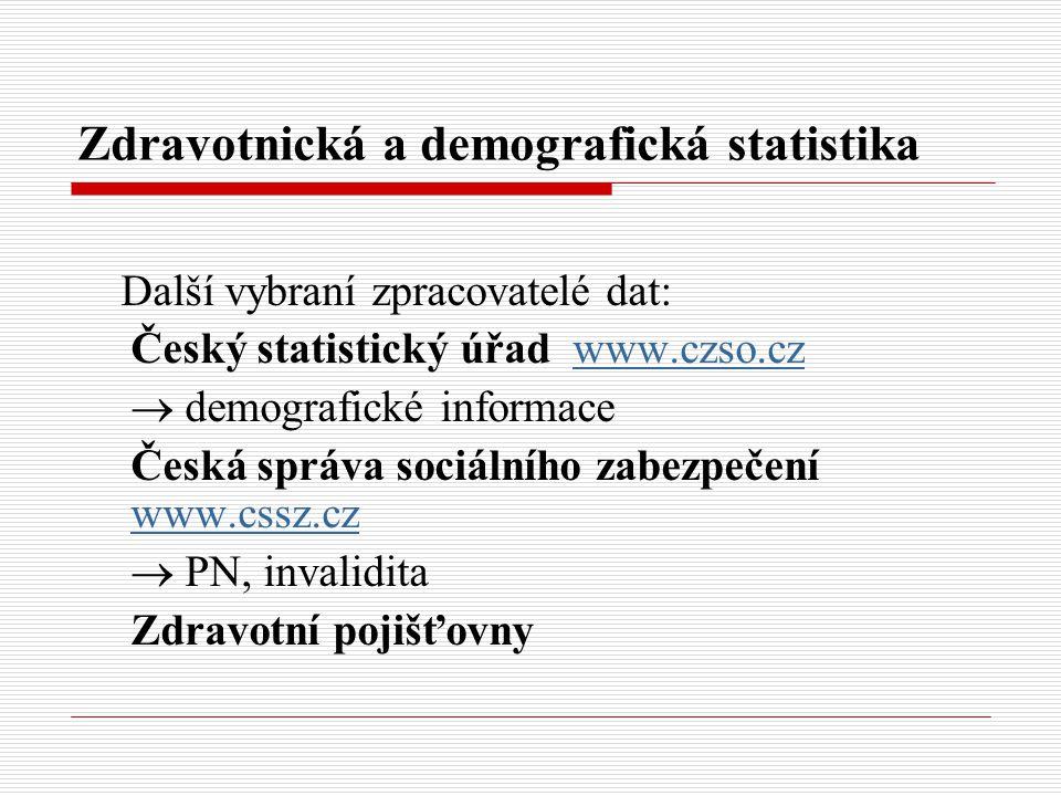 Zdravotnická a demografická statistika Další vybraní zpracovatelé dat: Český statistický úřad www.czso.czwww.czso.cz  demografické informace Česká sp