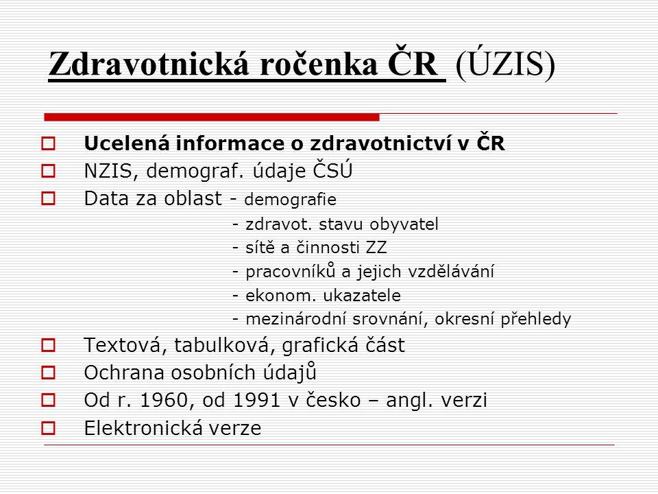 Zdravotnická ročenka ČR (ÚZIS)  Ucelená informace o zdravotnictví v ČR  NZIS, demograf. údaje ČSÚ  Data za oblast - demografie - zdravot. stavu oby
