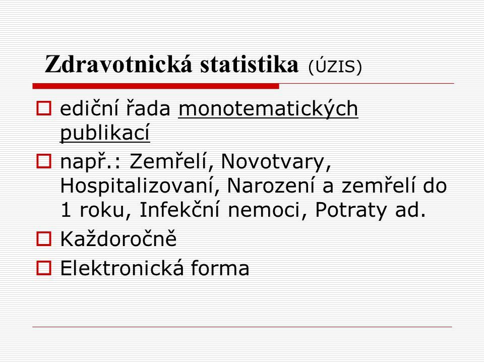 Zdravotnická statistika (ÚZIS)  ediční řada monotematických publikací  např.: Zemřelí, Novotvary, Hospitalizovaní, Narození a zemřelí do 1 roku, Inf