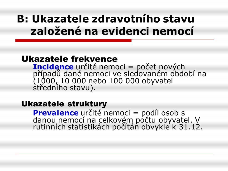 B: Ukazatele zdravotního stavu založené na evidenci nemocí Ukazatele frekvence Incidence určité nemoci = počet nových případů dané nemoci ve sledované