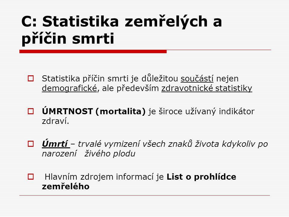 C: Statistika zemřelých a příčin smrti  Statistika příčin smrti je důležitou součástí nejen demografické, ale především zdravotnické statistiky  ÚMR
