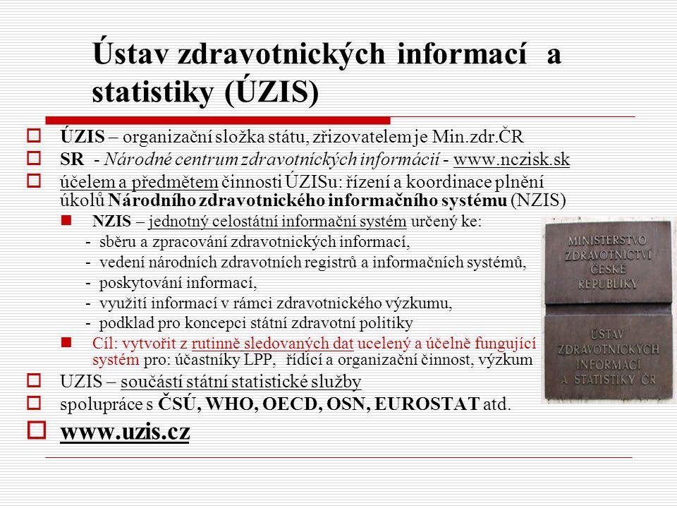 Ústav zdravotnických informací a statistiky (ÚZIS)  ÚZIS – organizační složka státu, zřizovatelem je Min.zdr.ČR  SR - Národné centrum zdravotníckých