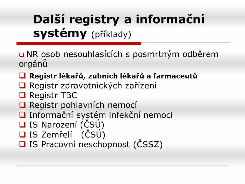Další registry a informační systémy (příklady)  NR osob nesouhlasících s posmrtným odběrem orgánů  Registr lékařů, zubních lékařů a farmaceutů  Reg