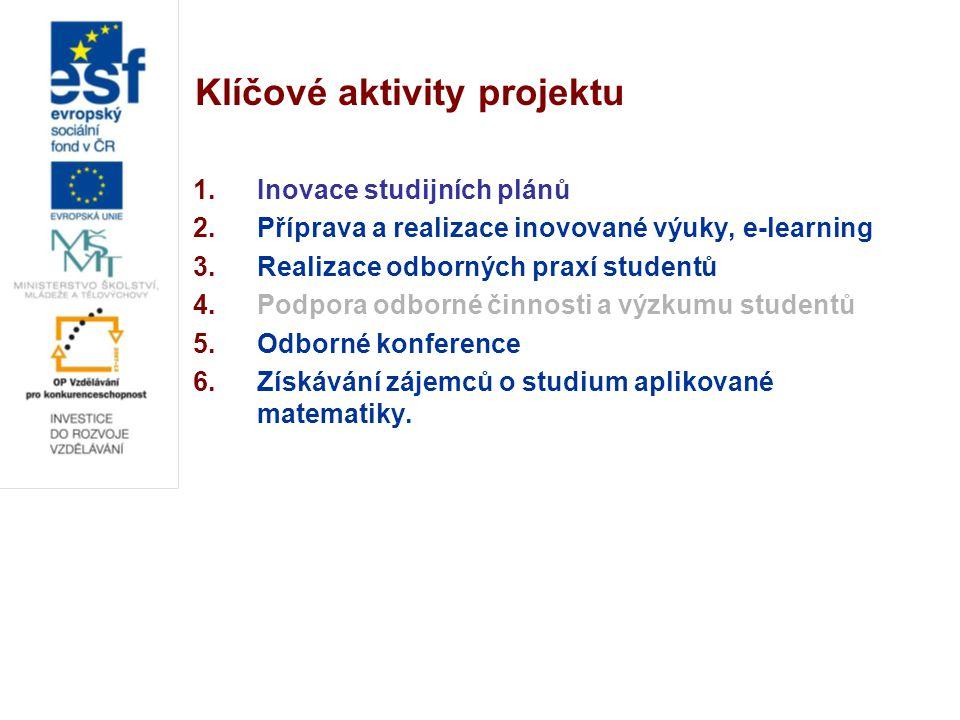 Klíčové aktivity projektu 1.Inovace studijních plánů 2.Příprava a realizace inovované výuky, e-learning 3.Realizace odborných praxí studentů 4.Podpora