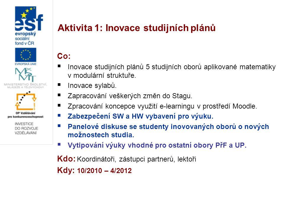 Aktivita 1: Inovace studijních plánů Co:  Inovace studijních plánů 5 studijních oborů aplikované matematiky v modulární struktuře.  Inovace sylabů.
