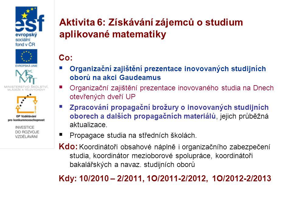Aktivita 6: Získávání zájemců o studium aplikované matematiky Co:  Organizační zajištění prezentace inovovaných studijních oborů na akci Gaudeamus 