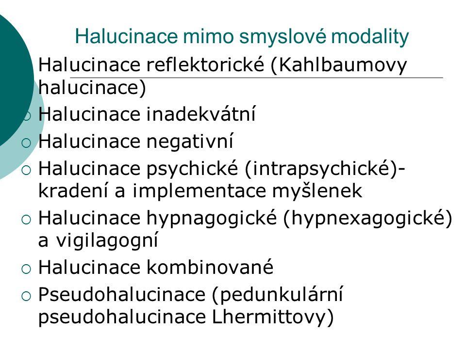 Halucinace mimo smyslové modality  Halucinace reflektorické (Kahlbaumovy halucinace)  Halucinace inadekvátní  Halucinace negativní  Halucinace psychické (intrapsychické)- kradení a implementace myšlenek  Halucinace hypnagogické (hypnexagogické) a vigilagogní  Halucinace kombinované  Pseudohalucinace (pedunkulární pseudohalucinace Lhermittovy)