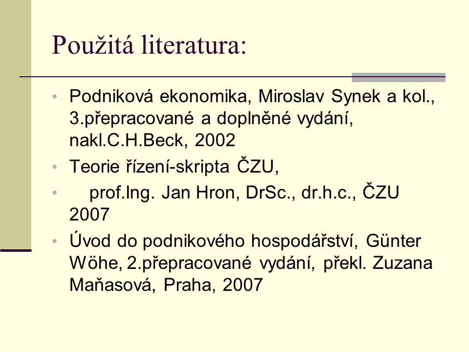 Použitá literatura: Podniková ekonomika, Miroslav Synek a kol., 3.přepracované a doplněné vydání, nakl.C.H.Beck, 2002 Teorie řízení-skripta ČZU, prof.Ing.
