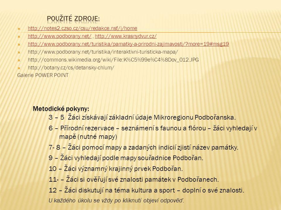  http://notes2.czso.cz/csu/redakce.nsf/i/home http://notes2.czso.cz/csu/redakce.nsf/i/home  http://www.podborany.net/, http://www.krasnydvur.cz/ http://www.podborany.net/http://www.krasnydvur.cz/  http://www.podborany.net/turistika/pamatky-a-prirodni-zajimavosti/ more=19#msg19 http://www.podborany.net/turistika/pamatky-a-prirodni-zajimavosti/ more=19#msg19  http://www.podborany.net/turistika/interaktivni-turisticka-mapa/  http://commons.wikimedia.org/wiki/File:K%C5%99e%C4%8Dov_012.JPG  http://botany.cz/cs/detansky-chlum/ Galerie POWER POINT Metodické pokyny: 3 – 5 Žáci získávají základní údaje Mikroregionu Podbořanska.