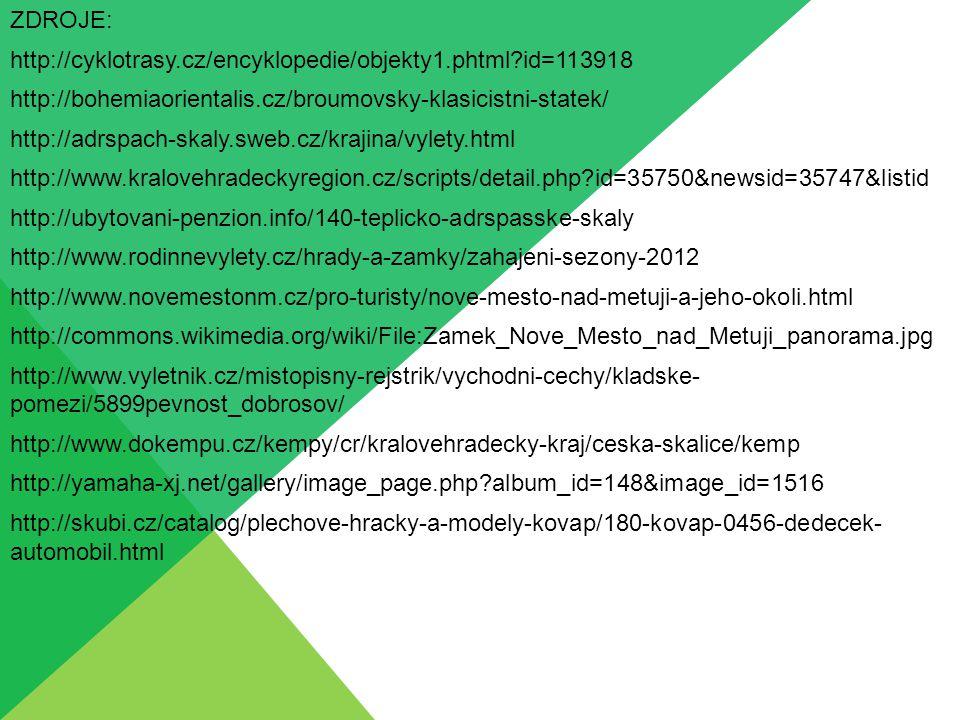 ZDROJE: http://cyklotrasy.cz/encyklopedie/objekty1.phtml id=113918 http://bohemiaorientalis.cz/broumovsky-klasicistni-statek/ http://adrspach-skaly.sweb.cz/krajina/vylety.html http://www.kralovehradeckyregion.cz/scripts/detail.php id=35750&newsid=35747&listid http://ubytovani-penzion.info/140-teplicko-adrspasske-skaly http://www.rodinnevylety.cz/hrady-a-zamky/zahajeni-sezony-2012 http://www.novemestonm.cz/pro-turisty/nove-mesto-nad-metuji-a-jeho-okoli.html http://commons.wikimedia.org/wiki/File:Zamek_Nove_Mesto_nad_Metuji_panorama.jpg http://www.vyletnik.cz/mistopisny-rejstrik/vychodni-cechy/kladske- pomezi/5899pevnost_dobrosov/ http://www.dokempu.cz/kempy/cr/kralovehradecky-kraj/ceska-skalice/kemp http://yamaha-xj.net/gallery/image_page.php album_id=148&image_id=1516 http://skubi.cz/catalog/plechove-hracky-a-modely-kovap/180-kovap-0456-dedecek- automobil.html