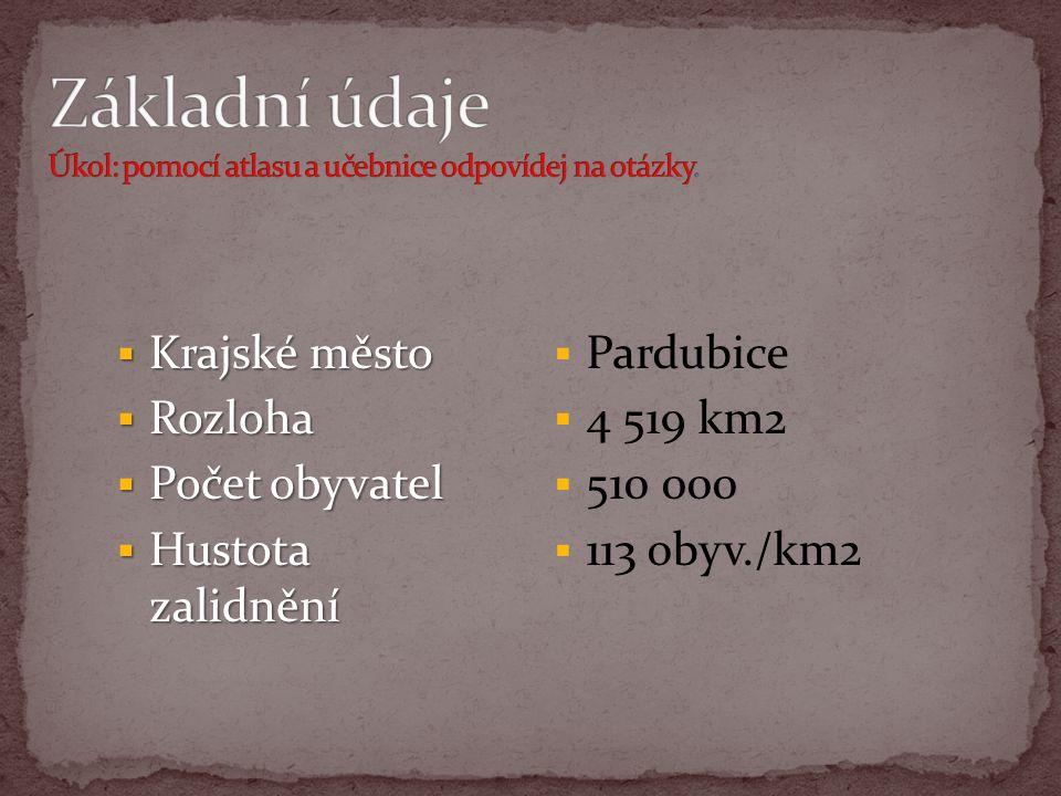  Krajské město  Rozloha  Počet obyvatel  Hustota zalidnění  Pardubice  4 519 km2  510 000  113 obyv./km2