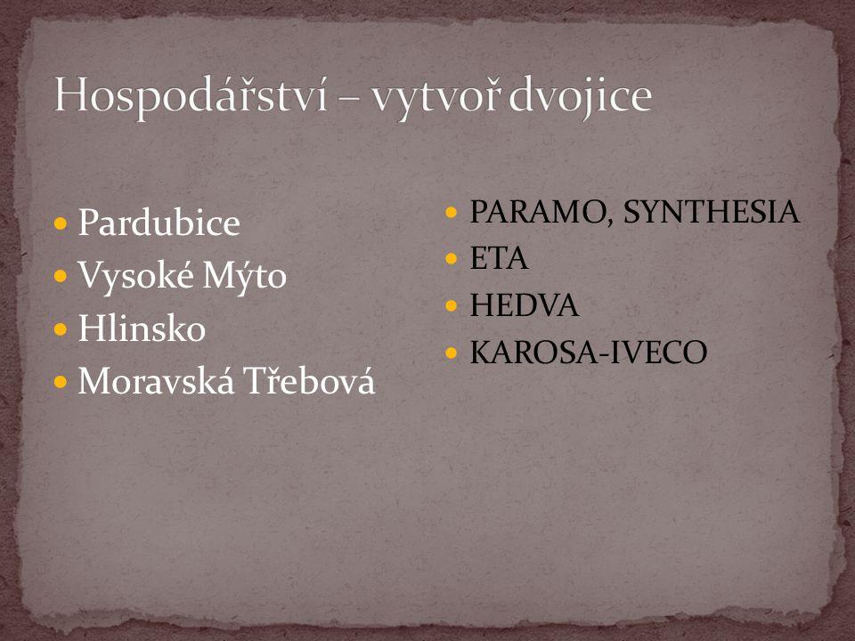 Pardubice Vysoké Mýto Hlinsko Moravská Třebová PARAMO, SYNTHESIA ETA HEDVA KAROSA-IVECO
