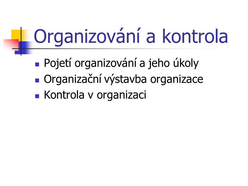 Pojetí organizování a jeho úkoly Příklady předmětů organizace = organizování: odbytu hospodaření s dlouhodobým majetkem výroby financování výzkumu kontroly materiálového hospodářství personalistiky plánování účetnictví revize (interní) dopravy propagace