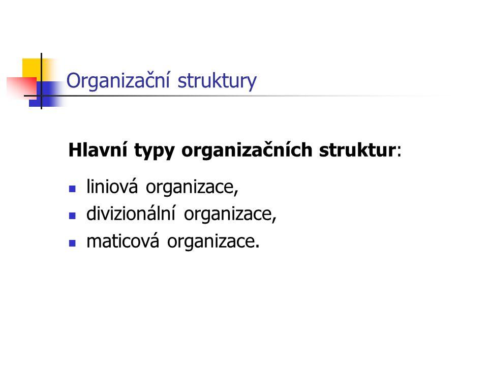 Organizační struktury Hlavní typy organizačních struktur: liniová organizace, divizionální organizace, maticová organizace.