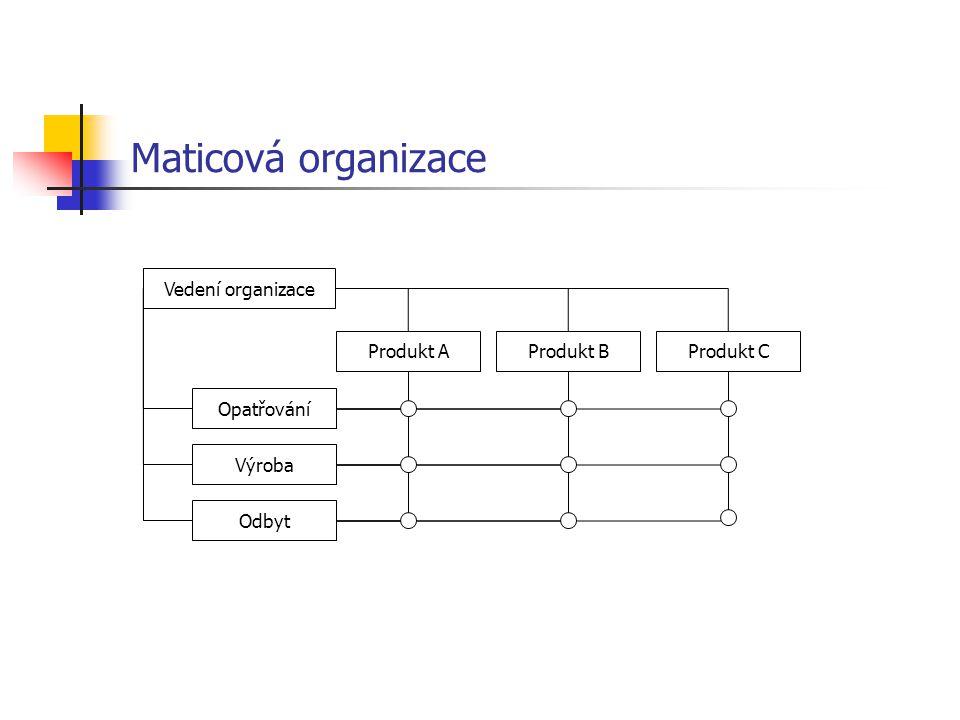Maticová organizace Vedení organizace Opatřování Výroba Odbyt Produkt AProdukt BProdukt C