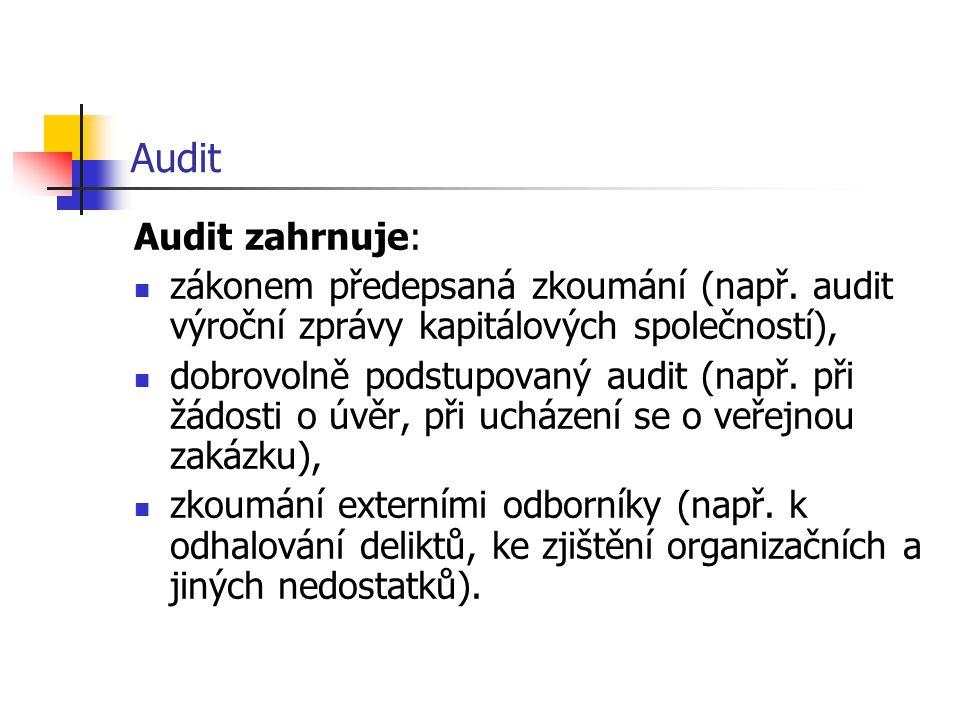Audit Audit zahrnuje: zákonem předepsaná zkoumání (např. audit výroční zprávy kapitálových společností), dobrovolně podstupovaný audit (např. při žádo