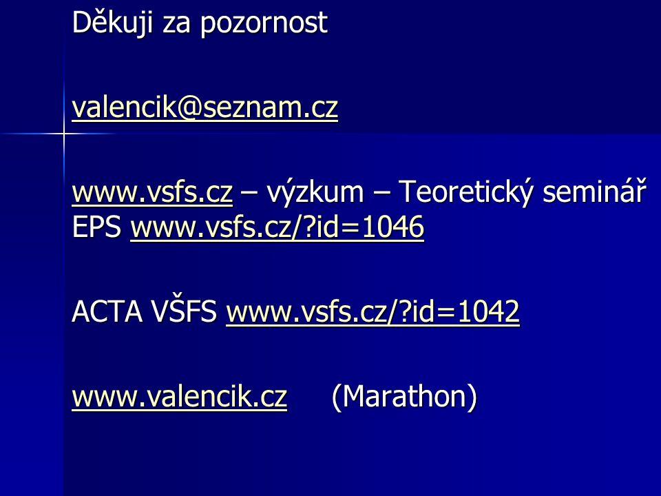 Děkuji za pozornost valencik@seznam.cz www.vsfs.czwww.vsfs.cz – výzkum – Teoretický seminář EPS www.vsfs.cz/ id=1046 www.vsfs.cz/ id=1046 www.vsfs.czwww.vsfs.cz/ id=1046 ACTA VŠFS www.vsfs.cz/ id=1042 www.vsfs.cz/ id=1042 www.valencik.czwww.valencik.cz (Marathon) www.valencik.cz