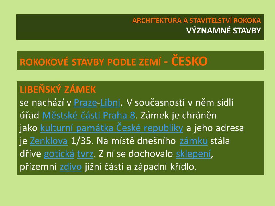 LIBEŇSKÝ ZÁMEK se nachází v Praze-Libni. V současnosti v něm sídlí úřad Městské části Praha 8. Zámek je chráněn jako kulturní památka České republiky