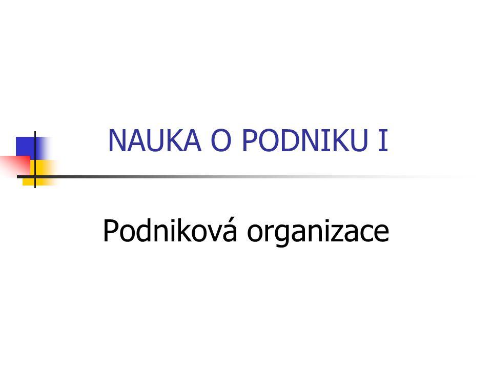 NAUKA O PODNIKU I Podniková organizace