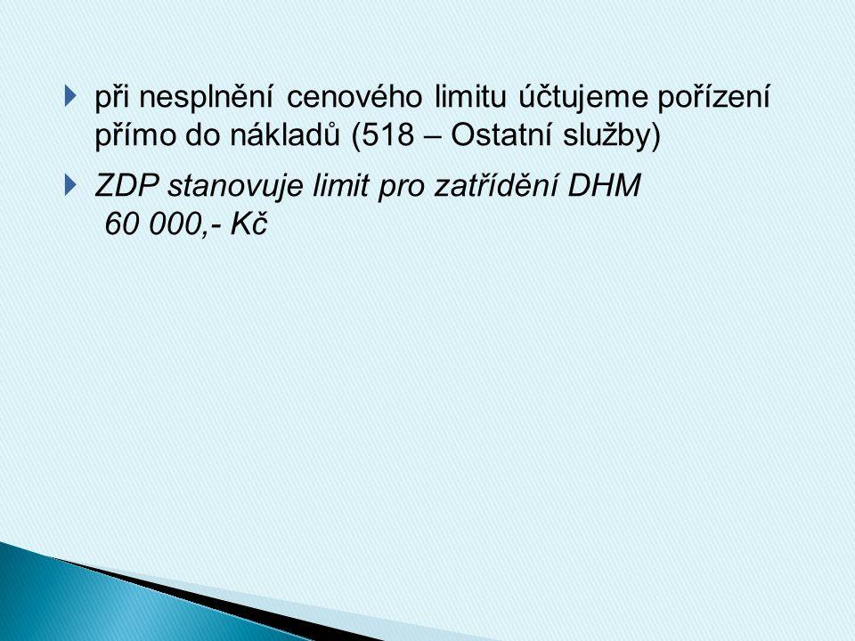  při nesplnění cenového limitu účtujeme pořízení přímo do nákladů (518 – Ostatní služby)  ZDP stanovuje limit pro zatřídění DHM 60 000,- Kč