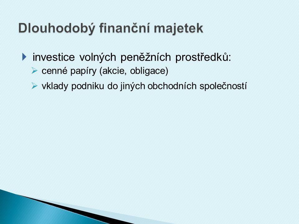  investice volných peněžních prostředků:  cenné papíry (akcie, obligace)  vklady podniku do jiných obchodních společností