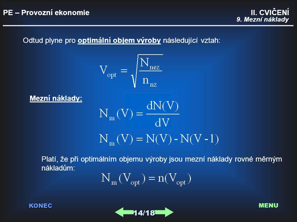PE – Provozní ekonomie II. CVIČENÍ _________________________________________ KONEC 9. Mezní náklady Odtud plyne pro optimální objem výroby následující