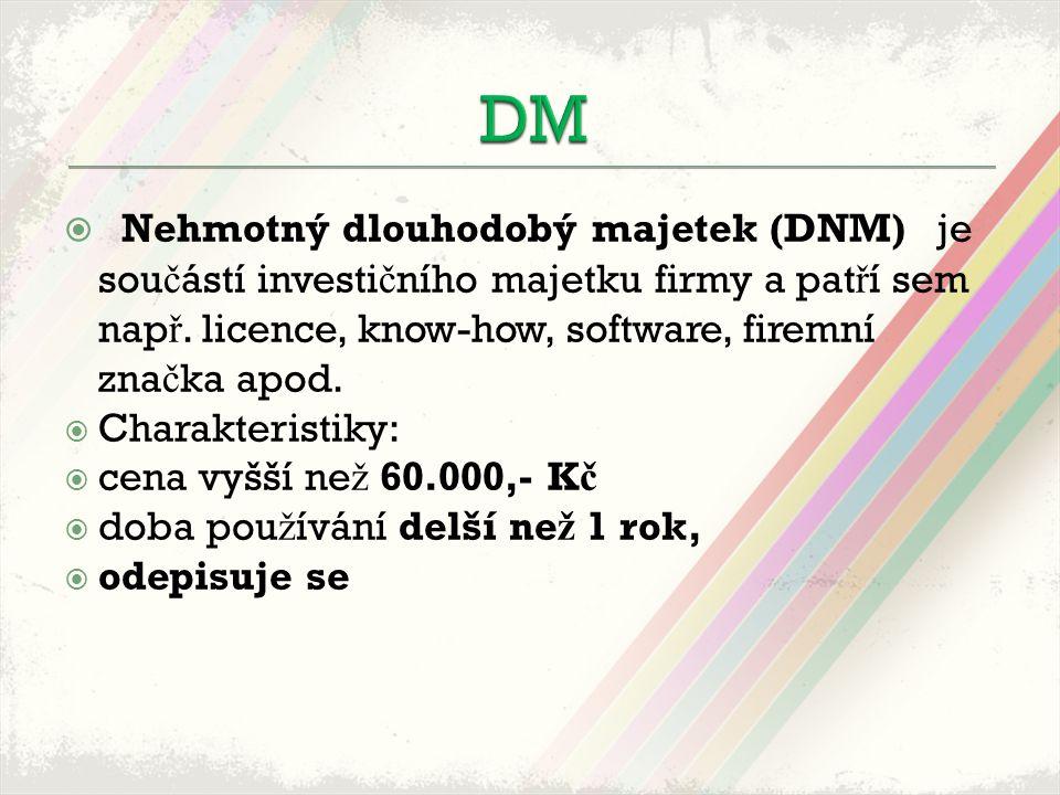  Nehmotný dlouhodobý majetek (DNM) je sou č ástí investi č ního majetku firmy a pat ř í sem nap ř.