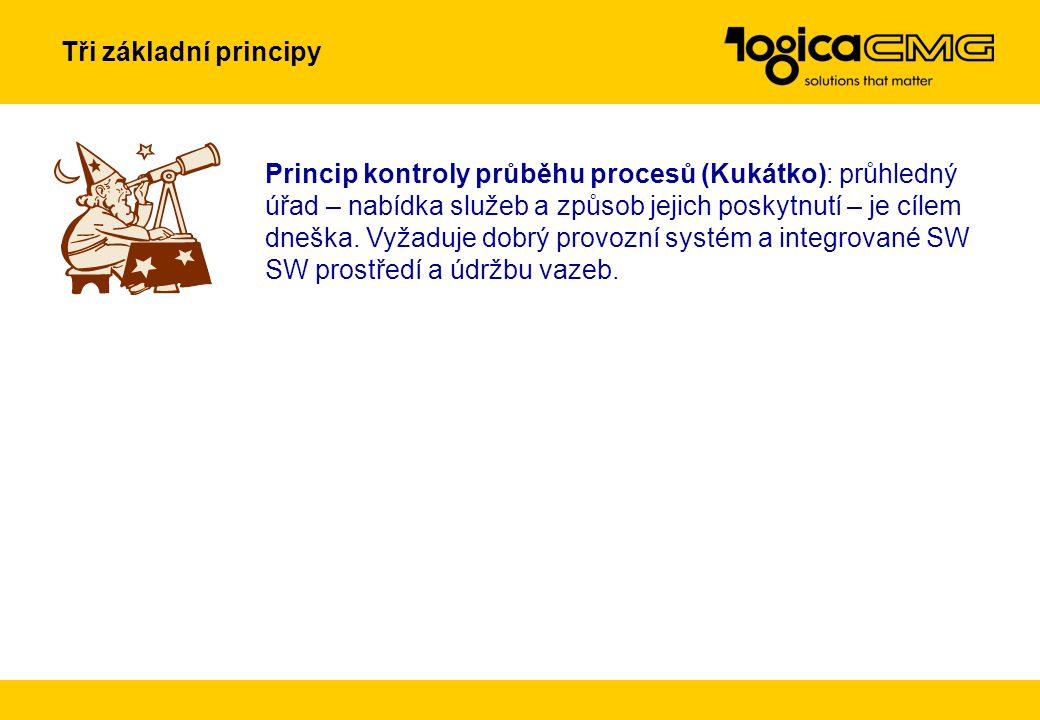 Princip kontroly průběhu procesů (Kukátko): průhledný úřad – nabídka služeb a způsob jejich poskytnutí – je cílem dneška.