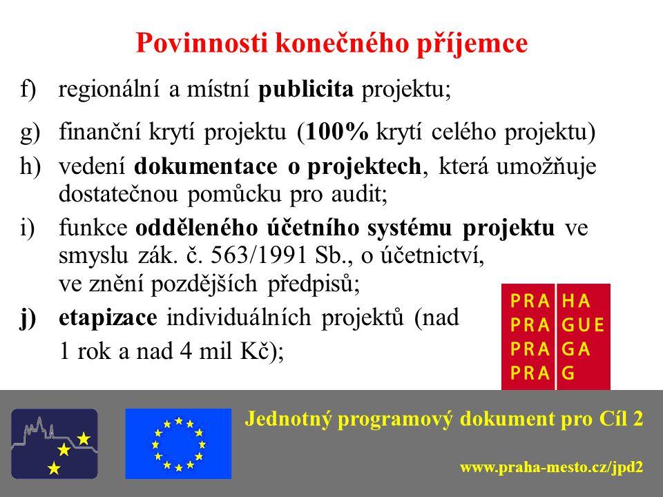 Povinnosti konečného příjemce a)zpracování žádosti o poskytnutí pomoci (ELZA); b)zpracování povinných příloh projektu; c)soulad s legislativou - příprava zadávací dokumentace projektu a zadávání veřejných zakázek v souladu s příslušnými předpisy (zejména zákon č.