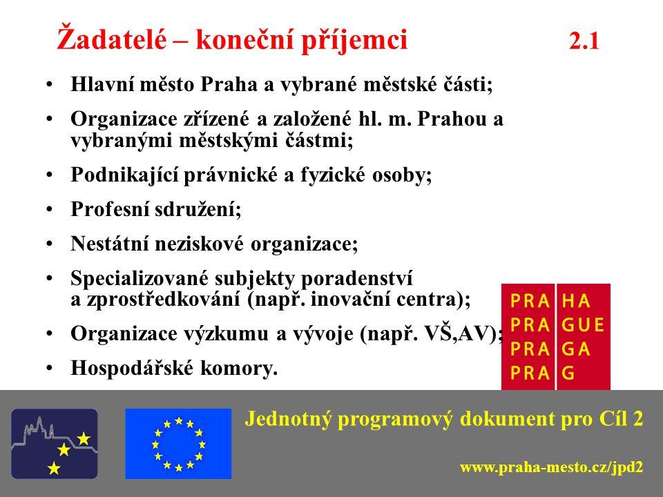 Opatření 2.3 – Rozvoj strategických služeb na podporu informační společnosti v Praze – typy podporovaných projektů -vybudování kapacitní, spolehlivé a dostupné telekomunikační sítě; -vytváření informačních databází a jejich přístupnost pro veřejnost; -projekty podporující podnikání při vývoji a transferu informačních technologií; -projekty podporující rozvoj práce z domova a elektronického obchodu.