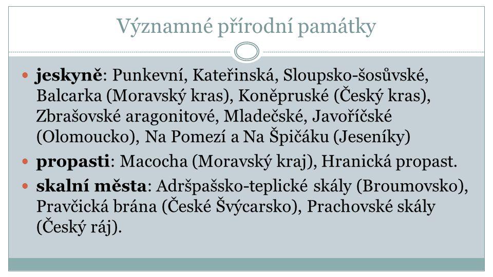 Významné přírodní památky jeskyně: Punkevní, Kateřinská, Sloupsko-šosůvské, Balcarka (Moravský kras), Koněpruské (Český kras), Zbrašovské aragonitové, Mladečské, Javoříčské (Olomoucko), Na Pomezí a Na Špičáku (Jeseníky) propasti: Macocha (Moravský kraj), Hranická propast.