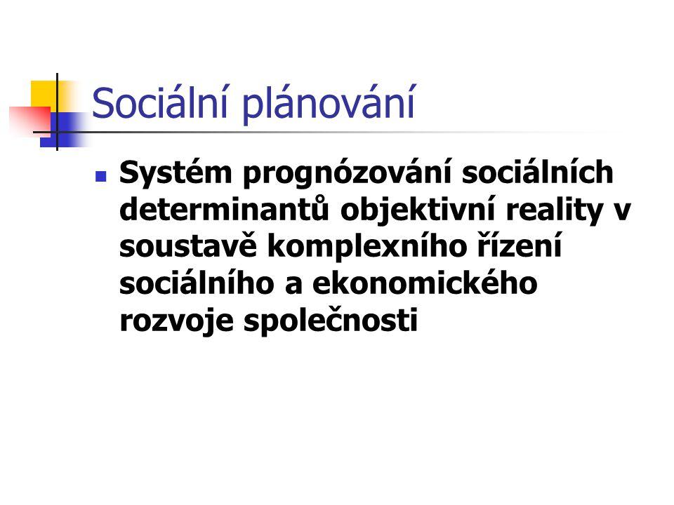Sociální plánování Systém prognózování sociálních determinantů objektivní reality v soustavě komplexního řízení sociálního a ekonomického rozvoje společnosti
