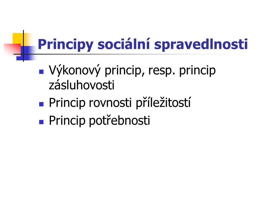 Principy sociální spravedlnosti Výkonový princip, resp.