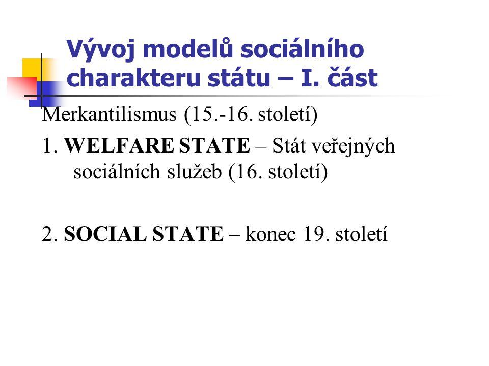 Vývoj modelů sociálního charakteru státu – II.část 3.