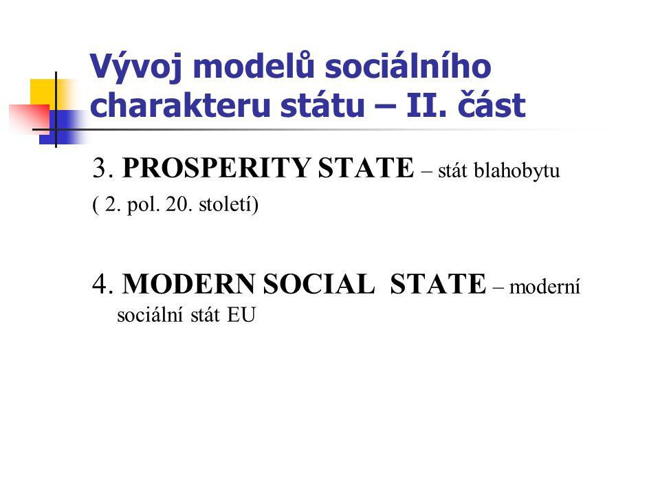 Vývoj modelů sociálního charakteru státu – II. část 3.