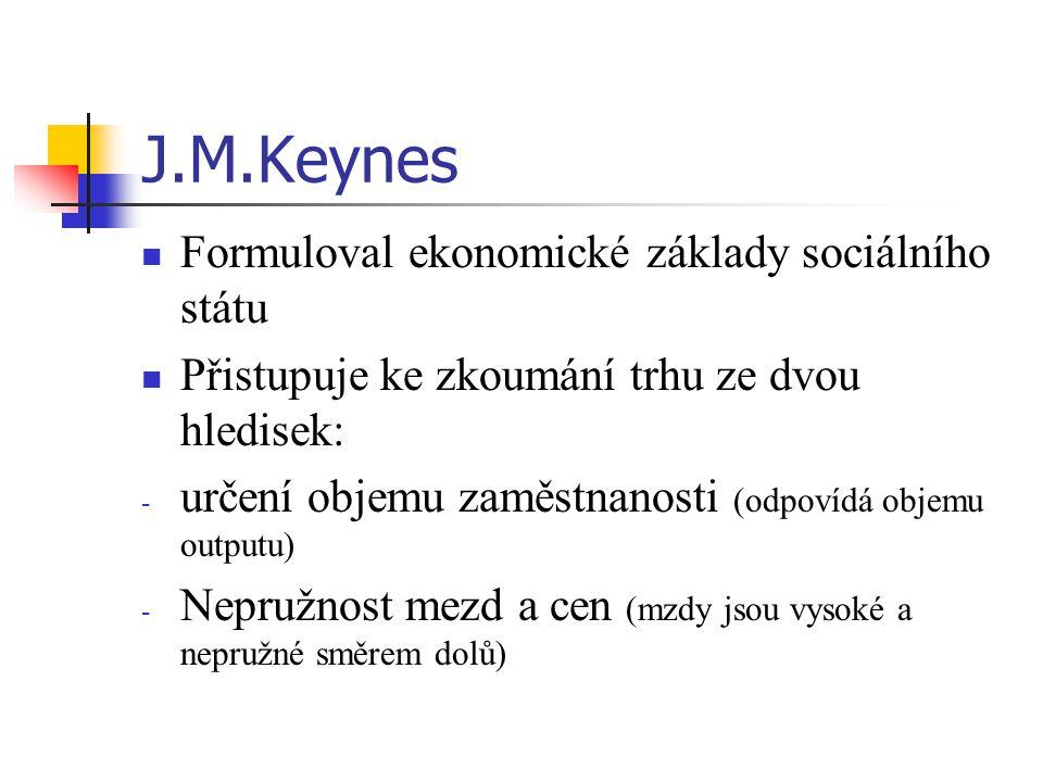 """Keynes: """"Všeobecná teorie zaměstnanosti, úroku a peněz (1936) Závěry: Snížení mezd není prostředkem proti U Celkový objem zaměstnanosti a produktu neurčují jen podniky, ale řešení musí také převzít stát Příčina velké U: chybná fiskální a monetární politika státu spojená s restrikcí veřejných výdajů v období hospodářské krize Státní intervence není negativní, ale pozitivní faktor ve vztahu k U – sociální dávky zvyšují konkurenceschopnou poptávku a tvorbu nových pracovních míst"""