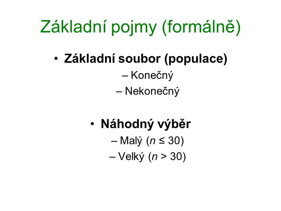 Základní pojmy (formálně) Základní soubor (populace) –Konečný –Nekonečný Náhodný výběr –Malý (n ≤ 30) –Velký (n > 30)