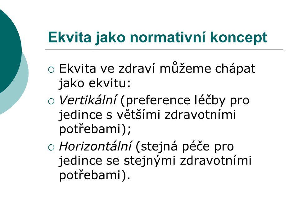 Ekvita jako normativní koncept  Ekvita ve zdraví můžeme chápat jako ekvitu:  Vertikální (preference léčby pro jedince s většími zdravotními potřebam