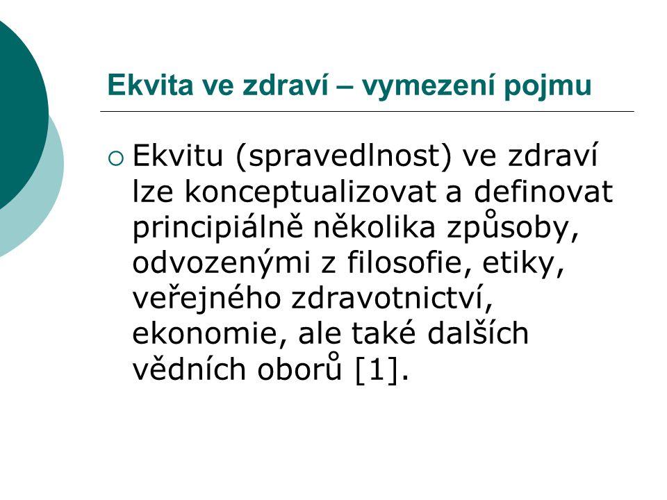 Ekvita ve zdraví – vymezení pojmu  Ekvitu (spravedlnost) ve zdraví lze konceptualizovat a definovat principiálně několika způsoby, odvozenými z filos