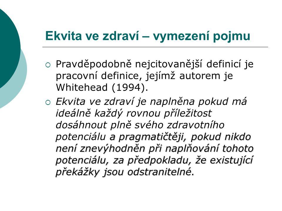 Ekvita ve zdraví – vymezení pojmu  Pravděpodobně nejcitovanější definicí je pracovní definice, jejímž autorem je Whitehead (1994). a pragmatičtěji, p