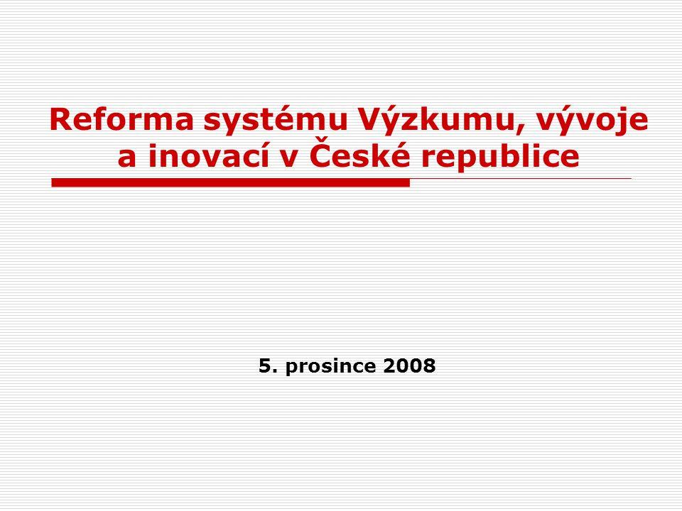 Reforma systému Výzkumu, vývoje a inovací v České republice 5. prosince 2008