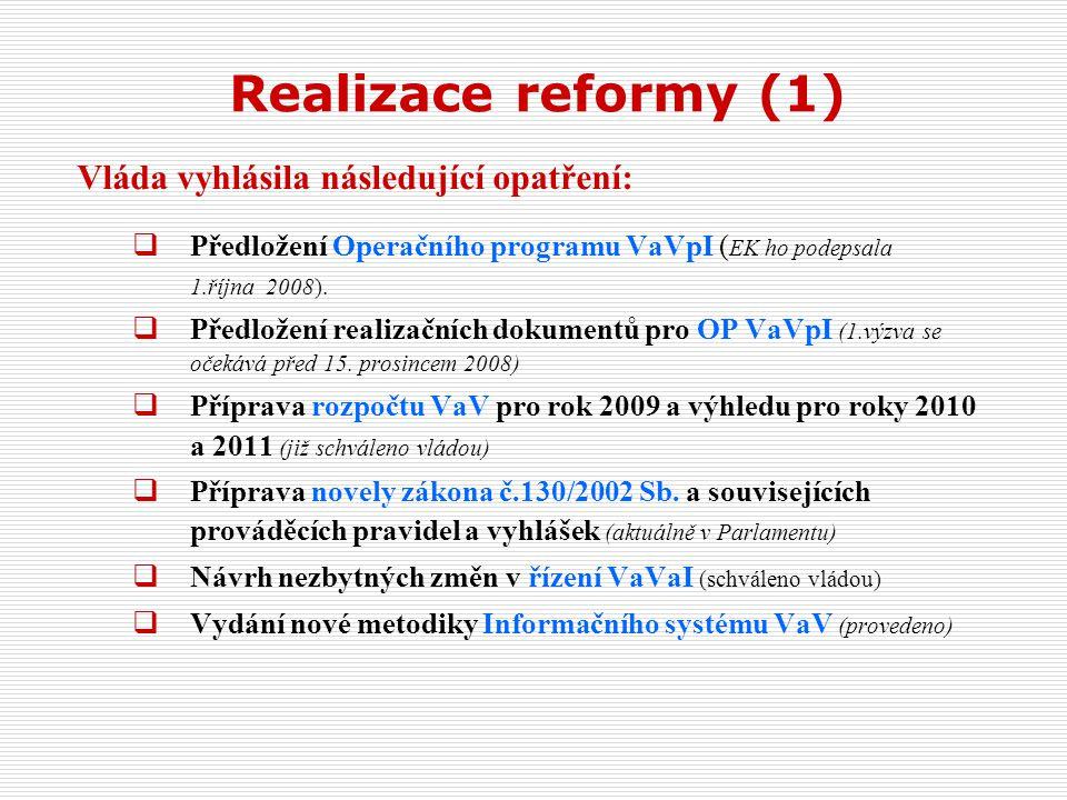 Realizace reformy (1) Vláda vyhlásila následující opatření:  Předložení Operačního programu VaVpI ( EK ho podepsala 1.října 2008).