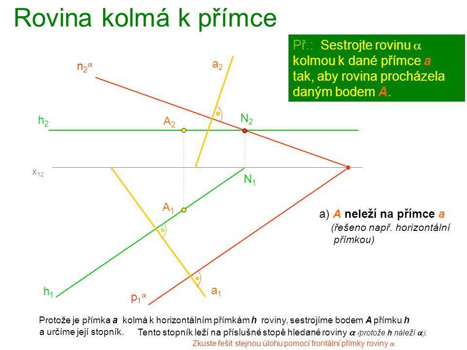 Rovina kolmá k přímce Protože je přímka a kolmá k frontálním přímkám f roviny, sestrojíme bodem A přímku f A1A1 Př.: Sestrojte rovinu  kolmou k dané přímce  a tak, aby rovina procházela daným bodem A.