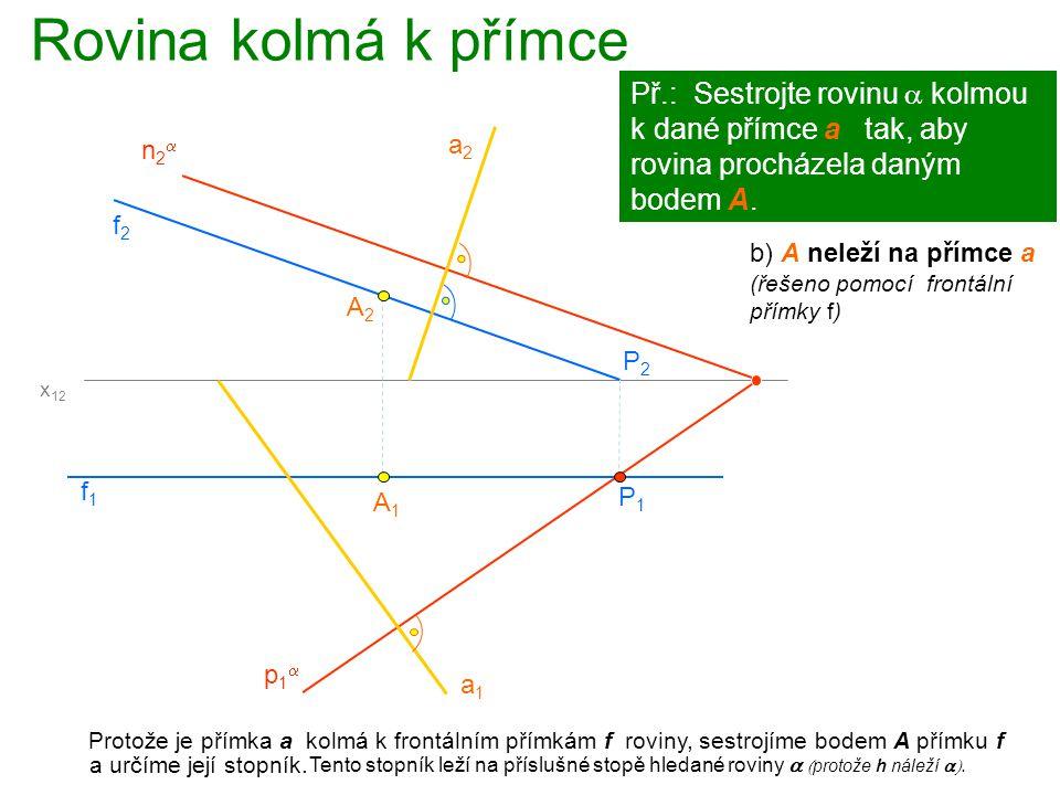 Rovina kolmá k přímce Protože je přímka a kolmá k frontálním přímkám f roviny, sestrojíme bodem A přímku f A1A1 Př.: Sestrojte rovinu  kolmou k dané