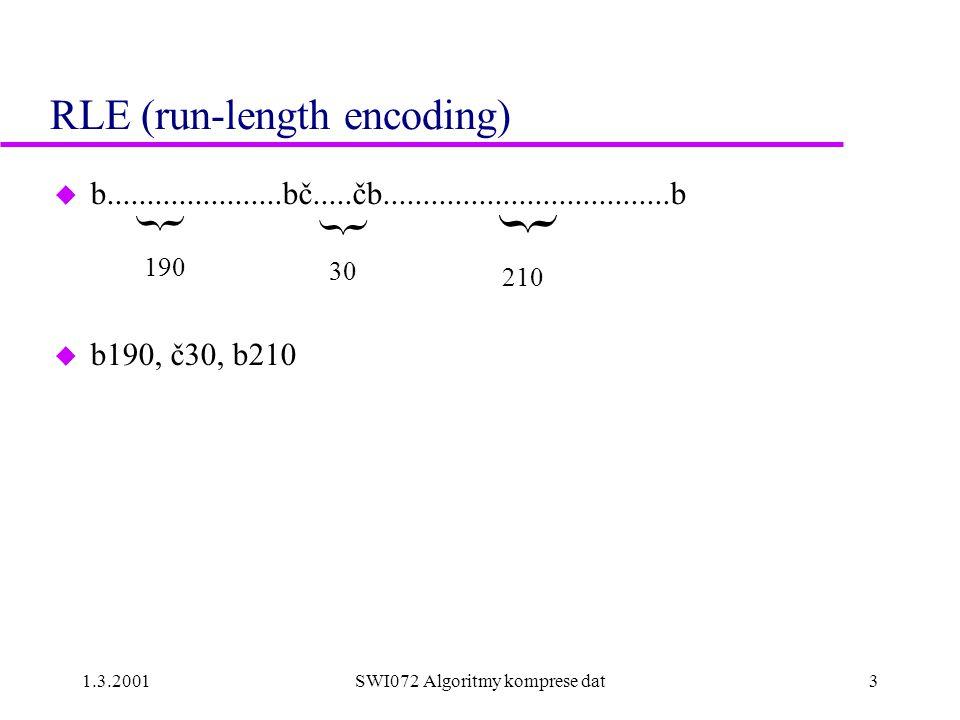 """1.3.2001SWI072 Algoritmy komprese dat4 Komprese faxových dokumentů  ITU-T ( http://www.itu.ch/ ) u T2(Group 1), T3(Group 2)  T4(Group 3), T6(Group 4) u T4 - PSTN (9600 baud), T6 - ISDN (64K baud) u kompresní poměr 20:1 až 50:1 pro """"obchodní dokumenty u faxový dokument = posloupnost řádků řádek = posloupnost č/b bodů (pel - picture element) u rozlišení –horizontální 8.05 pel/mm –vertikální 3.85 ř/mm (standard), 7.7 ř/mm (fine), 15.4 ř/mm (very fine) u Formát A4: 1728 pel/ř T4 doporučuje 1664 pel/ř"""